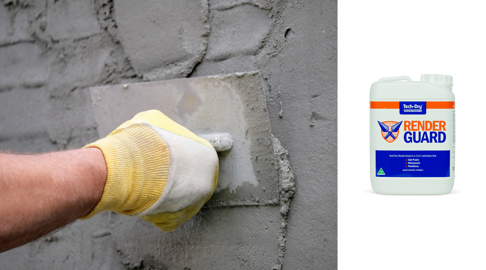 Tech-Dry Render Guard salt-proofs, water-proofs and plasticises sand/cement render mixes