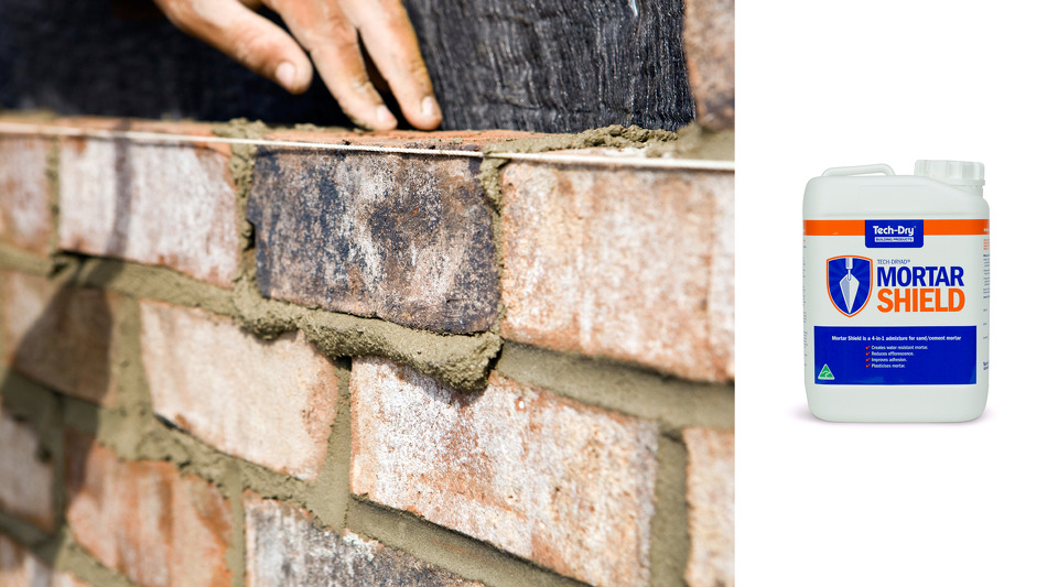 Tech-Dry Mortar Shield admixture for reducing efflorescence